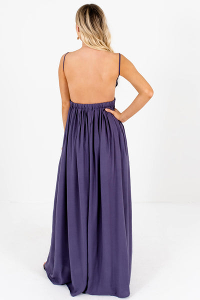 Slate Purple Open Back Long Flowy Maxi Sundresses for Women