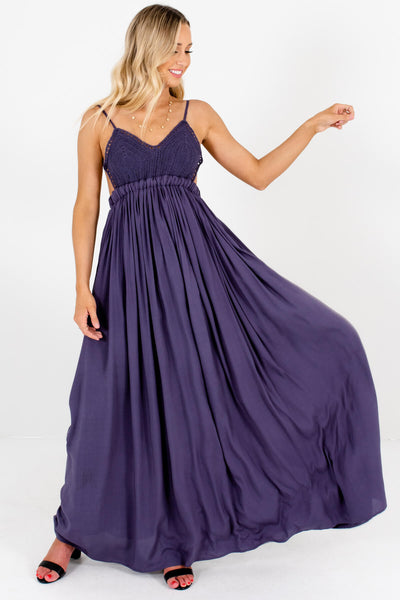 Dark Purple Blue Gray Festival Open Back Maxi Sundresses