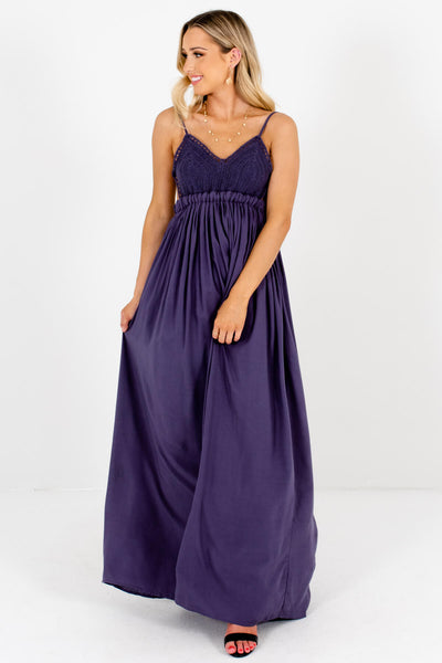 Dark Slate Purple Festival Open Back Flowy Maxi Dresses