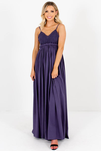 Slate Blue Purple Crochet Bodice Open Back Maxi Dresses for Women