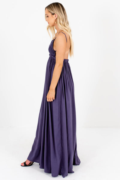 Dark Slate Purple Open Back Maxi Dresses Affordable Boutique