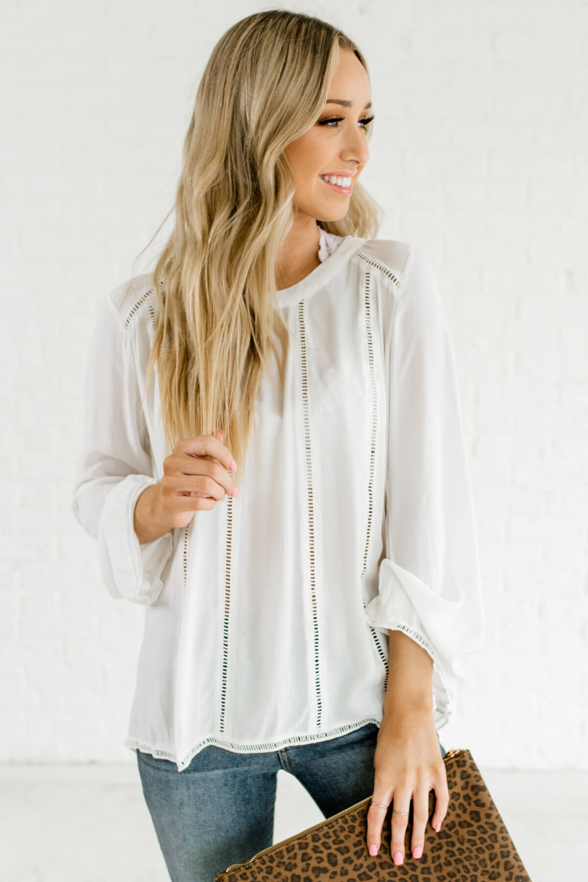 White Ladder Lace Detailed Boutique Blouses for Women