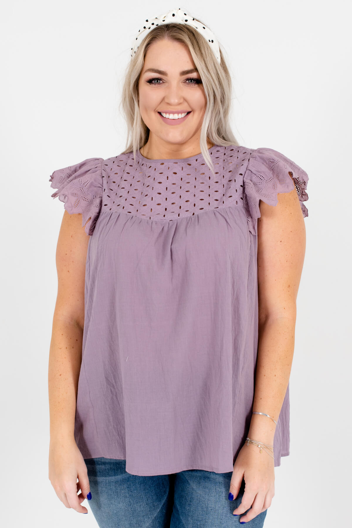 Lavender Purple Eyelet Detailed Plus Size Boutique Tops for Women