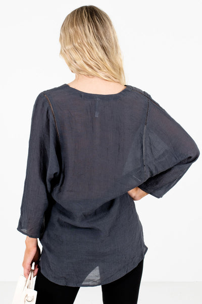 Women's Charcoal Gray Button-Up Neckline Boutique Tops