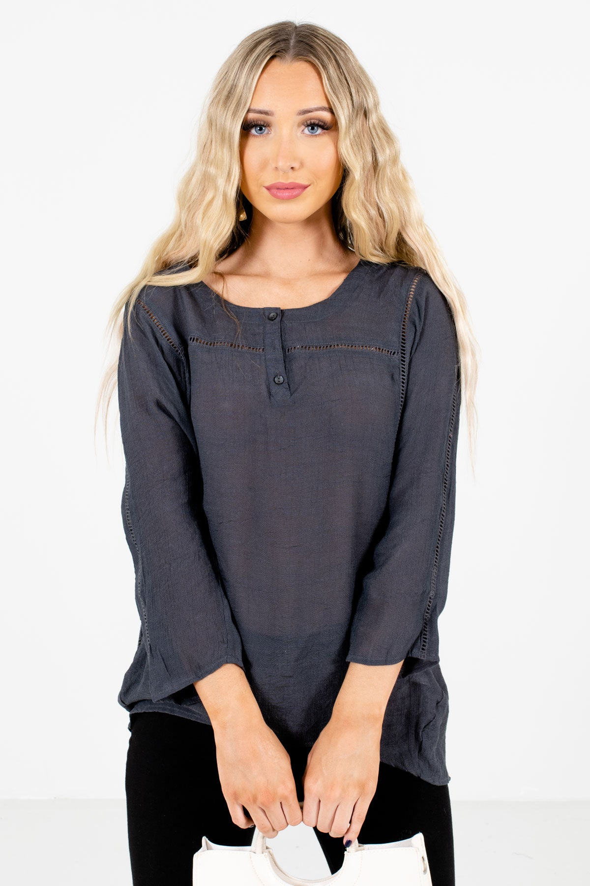 Charcoal Gray Ladder Lace Detailed Boutique Tops for Women