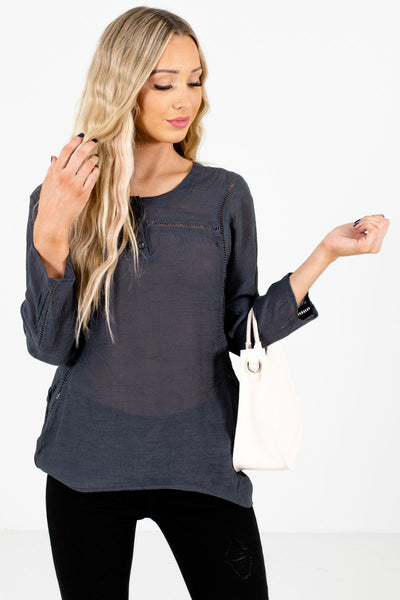 Women's Charcoal Gray High-Quality Lightweight Material Boutique Tops