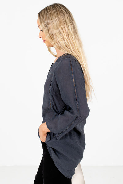 Charcoal Gray High-Low Hem Boutique Tops for Women