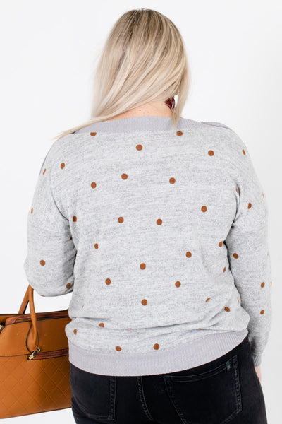 Women's Heather Gray Button Accented Boutique Sweater