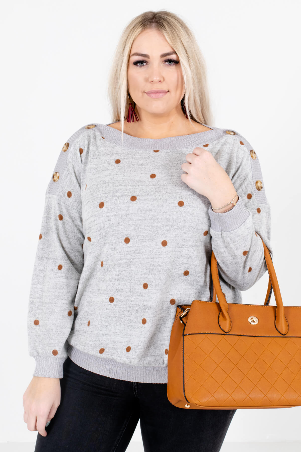 Heather Gray and Rust Polka Dot Patterned Boutique Sweaters for Women