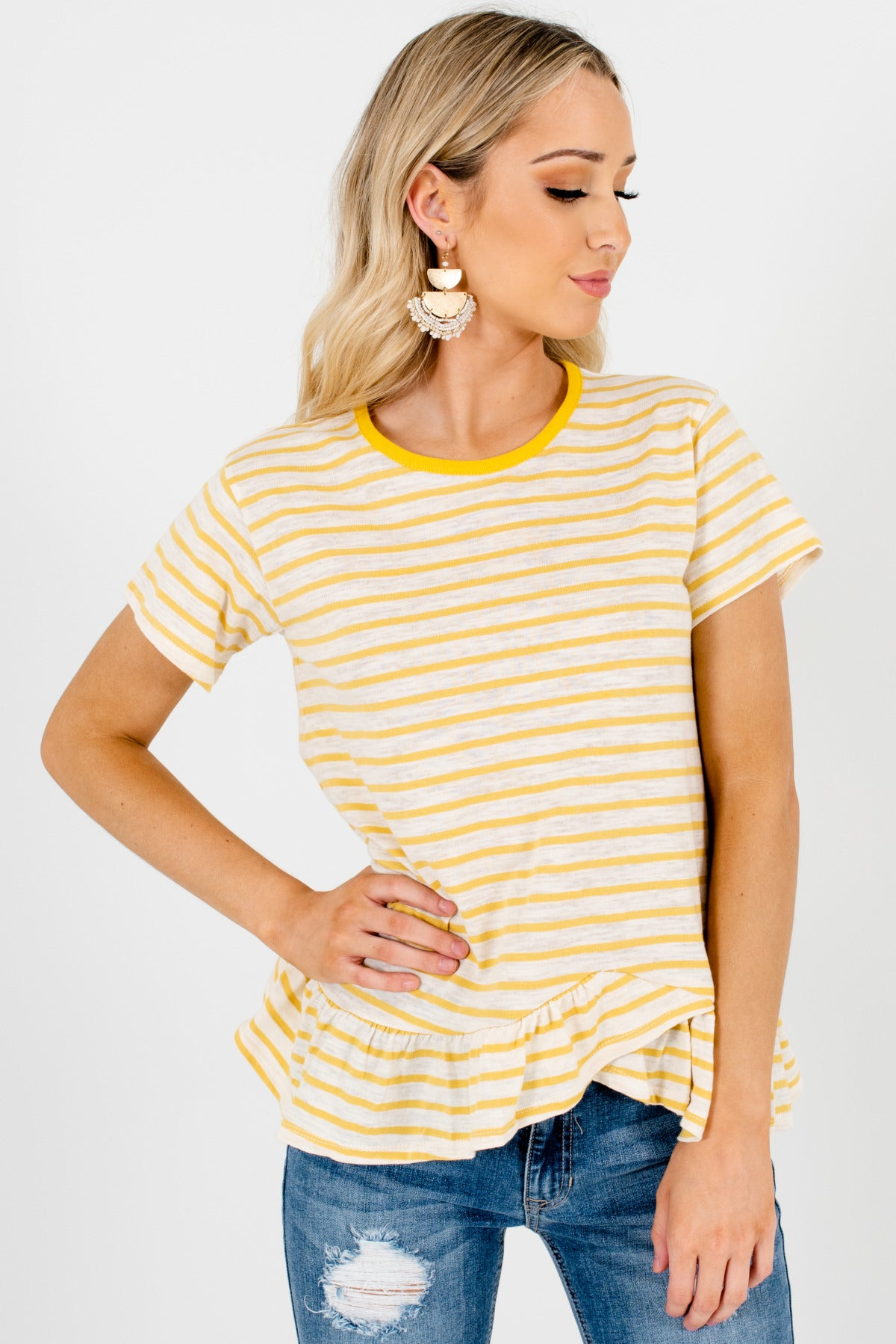 Yellow and Cream Striped Patterned Boutique Tops for Women