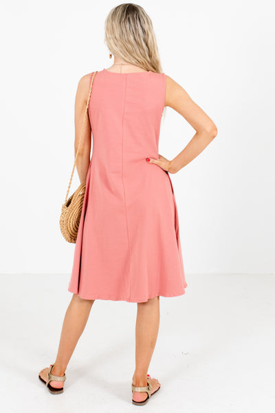 Women's Pink Round Neckline Boutique Knee-Length Dress