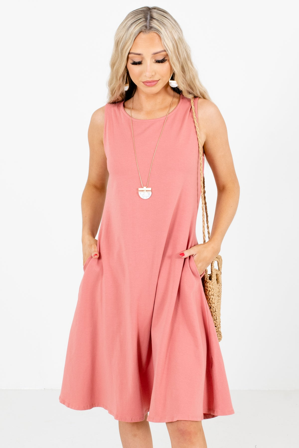 Pink Tank Style Boutique Knee-Length Dresses for Women