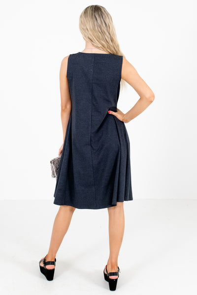 Charcoal Boutique Knee-Length Dresses with Pockets for Women