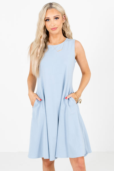 Light Blue Cute and Comfortable Boutique Knee-Length Dresses for Women