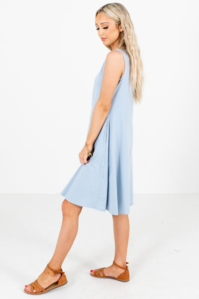 Women's Light Blue High-Quality Boutique Knee-Length Dress