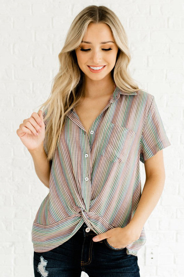 Black Boutique Shirts with Rainbow-Colored Stripes for Women