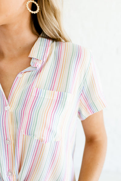White Multi Colored Front Pocket Boutique Striped Shirts for Women