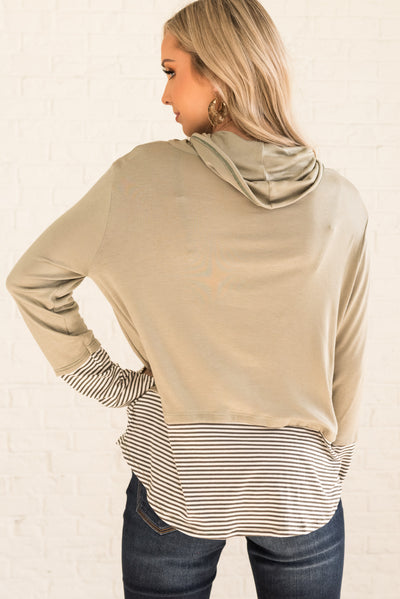Sage Green Women's Top with Drawstings