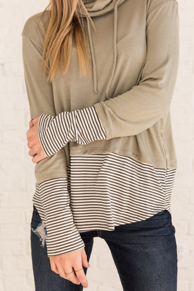 Sage Green Striped Boutique Tops for Women