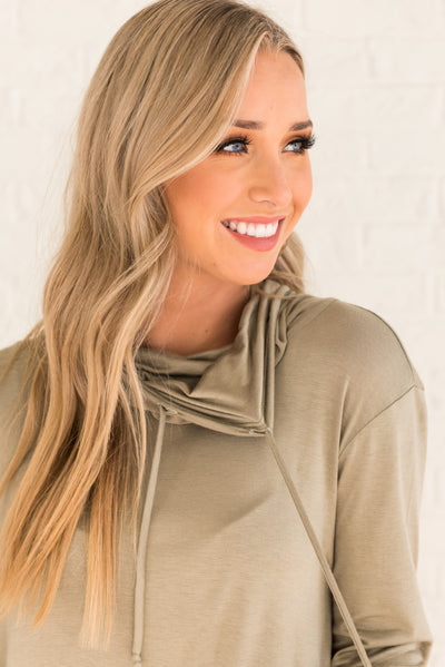 Cute Sage Green Cowl Neck Tops