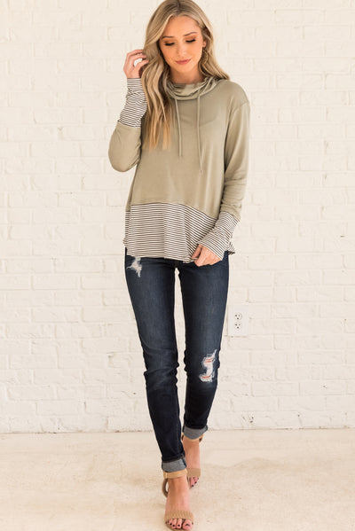 Sage Green Women's Long Sleeve Boutique Tops