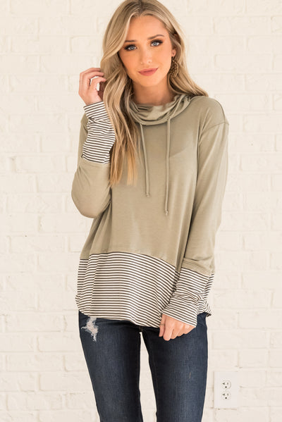 Sage Green Cowl Neck Boutique Tops for Women