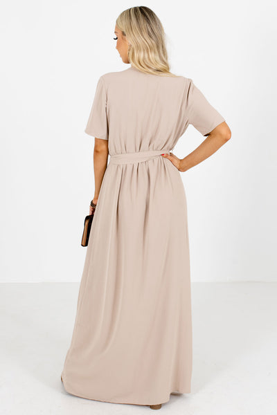 Women's Tan Spring Bridesmaid Boutique Maxi Dress
