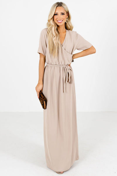 Tan Lightweight High-Quality Boutique Maxi Dresses for Women