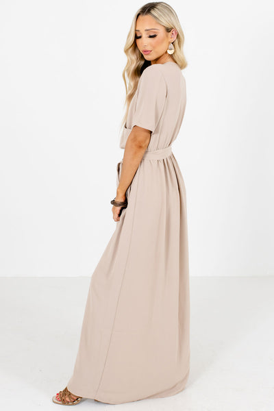 Tan Cute and Comfortable Boutique Maxi Dresses for Women