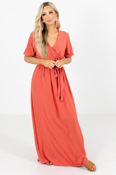 Coral Faux Wrap Style Boutique Maxi Dresses for Women