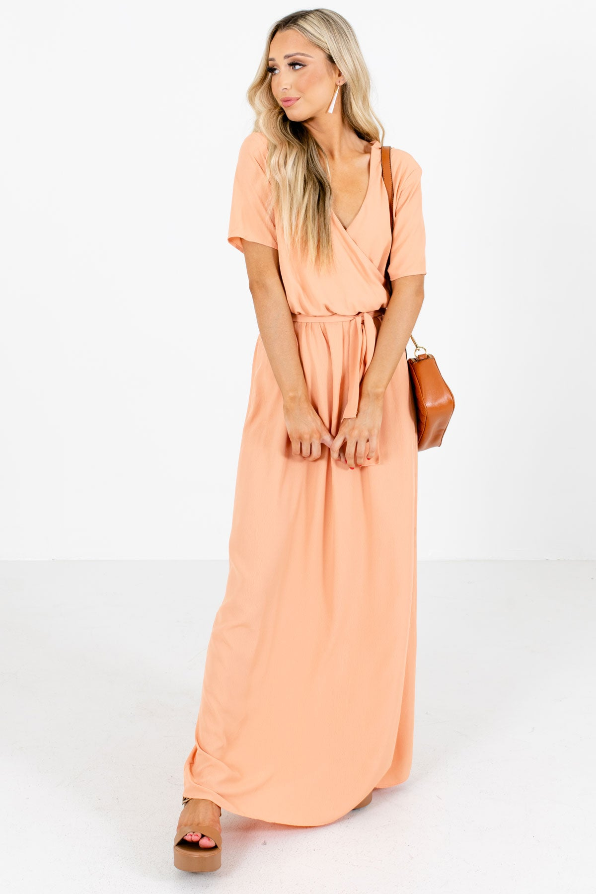 Peach Faux Wrap Style Boutique Maxi Dresses for Women