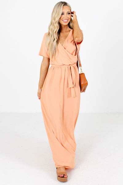 Women's Peach High-Quality Material Boutique Maxi Dress