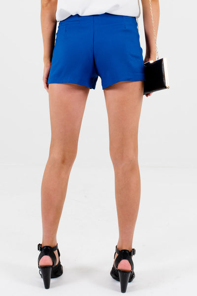 Women's Blue Faux Pocket Boutique Shorts