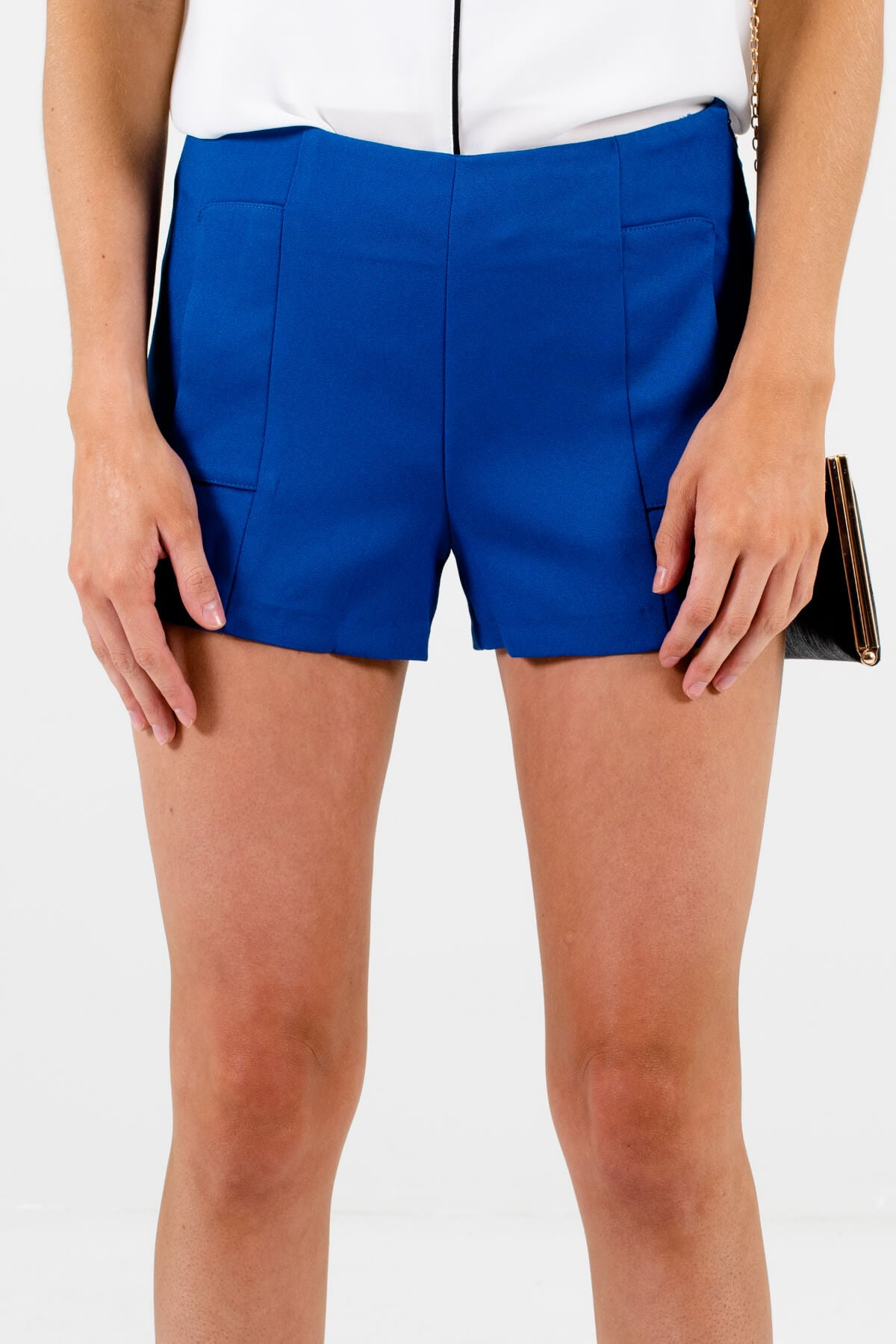 Blue Side Zipper Boutique Shorts for Women
