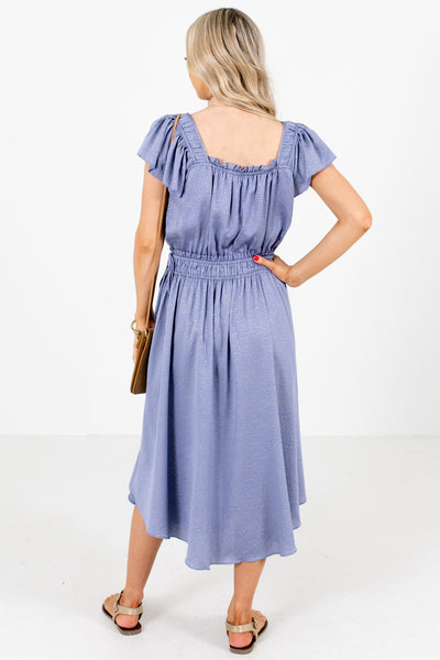 Women's Blue Square Neckline Boutique Midi Dress