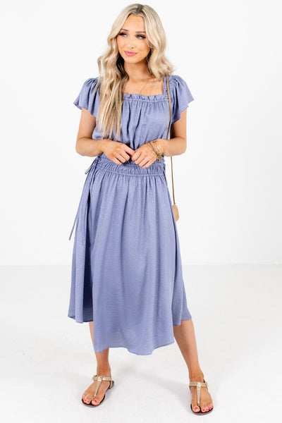 Blue Flutter Sleeve Boutique Midi Dresses for Women