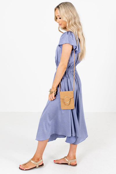 Women's Blue Self Tie Accented Boutique Midi Dress