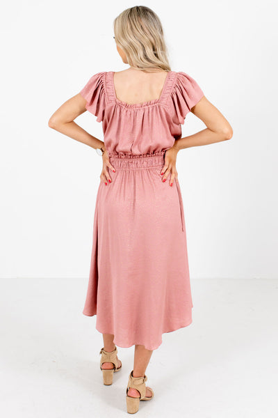 Women's Pink Smocked Waistband Boutique Midi Dress