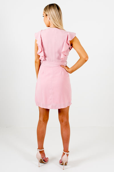 Light Pink Women's Ruffle Accented Boutique Mini Dresses