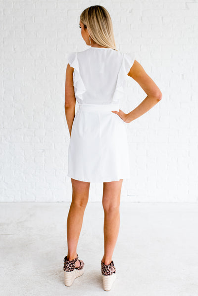 Women's White Fully Lined Boutique Mini Dress