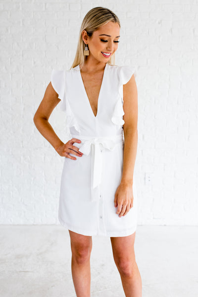 White Ruffle Accented Boutique Mini Length Dresses for Women