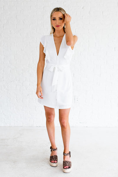 White Cute and Comfortable Boutique Short Dresses for Women