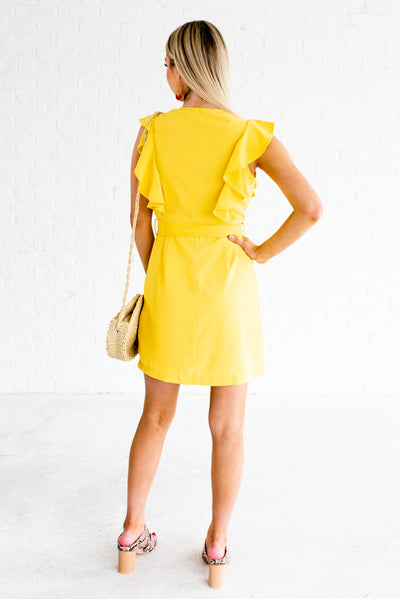 Yellow Women's Boutique Mini Dress with Decorative Buttons