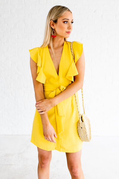 Cute Yellow Deep V-Neckline Boutique Dresses for Women