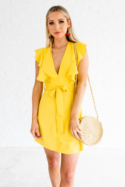 Yellow Ruffle Accented Boutique Mini Length Dresses for Women