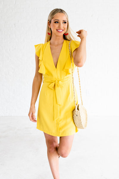 Yellow Women's Waist Tie Detail and Side Zipper Boutique Mini Dress