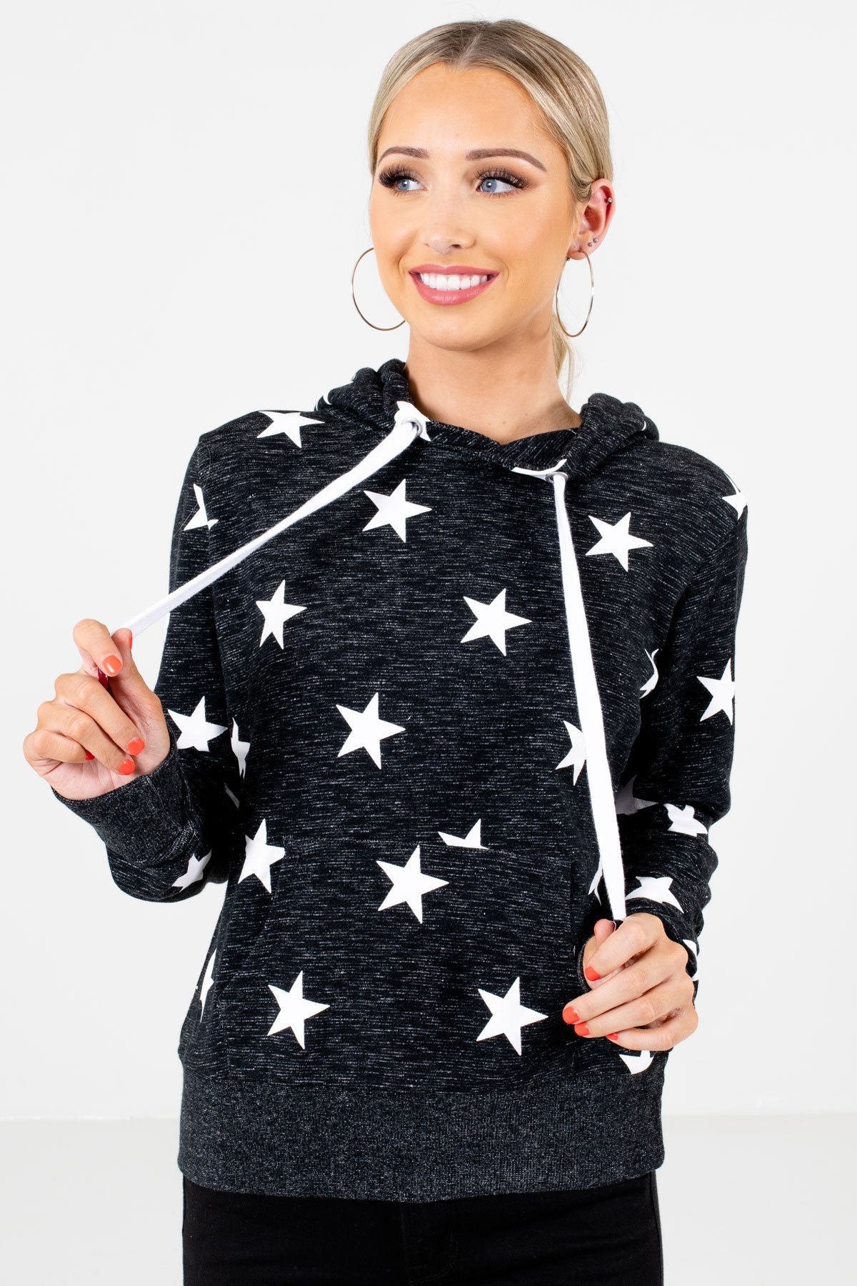 Heather Black and White Star Patterned Boutique Hoodies for Women