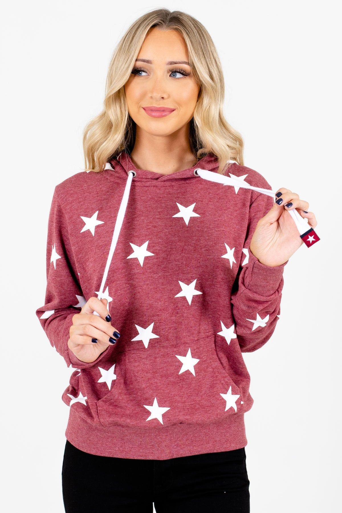 Brick Red and White Star Patterned Boutique Hoodies for Women