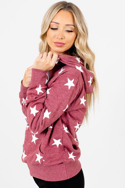 Brick Red Front Pocket Boutique Hoodies for Women