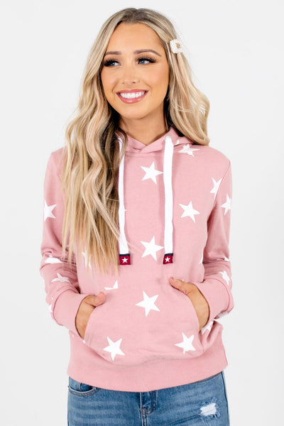 Pink and White Star Patterned Boutique Hoodies for Women